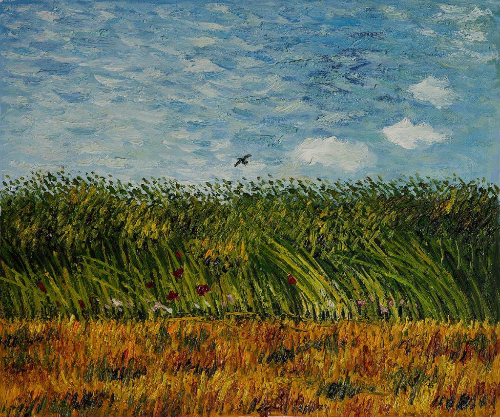 junto a un campo de trigo, con amapolas, y una alondra, de Van Gogh